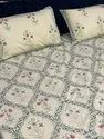 Jaipuri Cotton White Base Block Print Double Bed Sheet With Pillow Cover