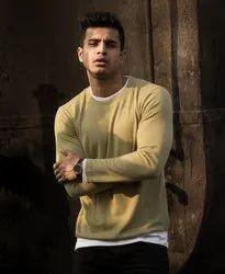 Full Sleeves Rub Cotton Lycra Branded Men's Pre Winter T Shirt, Size: Free Size
