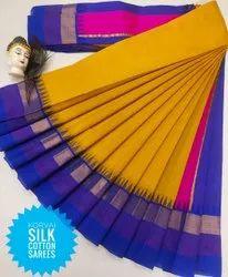 Casual Wear Plain Elampillai Korvai Silk Cotton Sarees Collections, With Blouse Piece, 6, 25