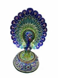 Multicolor Silver Peacock Dancing (7.5 Inches), For Interior Decor