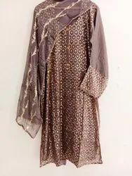 Party Wear Semi-Patiala Salwar Faux Georgette Fabric Suit, Size: Large