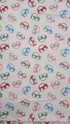 Light Pink Car Printed Cotton Fabric