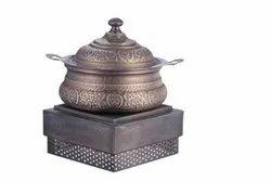 Smokey Brass Embosed Hyatt Handi with Imperial Chowki