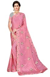 Janasya Women's Multicolor Chinnon/Sana Silk Embroidered Saree With Blouse Piece(NATKHAT-Pack of 4)