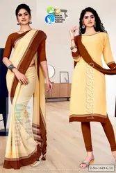 Chikku Premium Georgette Mother Teresa Hospital Uniform Sarees Salwar Combo for Aayah Bai Staff