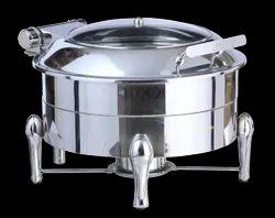 Grand Round Hydraulic Glass Lid Chafing Dish New