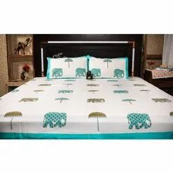 King Size Handblock Print Premium Percale 100% Cotton Fabric Bedsheets With Two Pillow Cases