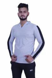 White XL Mens Full Sleeve Hoodie T Shirt