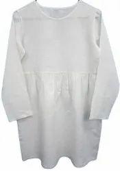 Ankle Length Round Neck Ladies Linen Plain White Kurta, Size: Medium