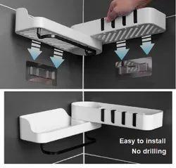 Plastic Rotatable Self Adhesive Bathroom Rack