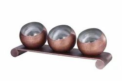 Metal Kraft Stainless Steel/Brass/Copper Pani Puri 3 x 1 Mutka Set With Base, For Hotels/Banquets/Catering, For Catering