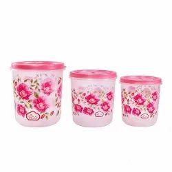 Royal Pink Floral Print Kitchen Jar Set 5000+7000+1000