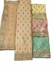 Peach Ladies Chanderi Silk Embroidery Suit