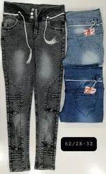 Casual Wear Embroidery Women Denim Jeans, Size: 28-32, Handwash