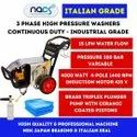 Three Phase Italian Grade Continuous Duty Car Washer With Brass Triplex Plunger Pump & 4 Pole Motor