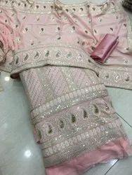 Georgette Sequence Emb. Shirt And Dupatta Plain Bottom Set