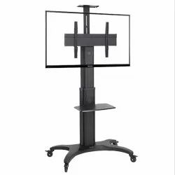 Black Wall Mounted Stainless Steel TV Stand, For Hotel