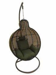 Hanging Swing Single Seater, GC-155, Yellow cum Black, Olive Green Cushion