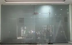 Hinged Toughened Glass Double Door, For Office, Thickness: 14 mm
