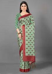 Printed Border Woman Kota Manipuri Saree, With Blouse Piece, 5.5 M (Separate Blouse Piece)