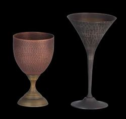 Smokey Finished Copper Hammered Goblet