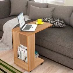 Kawachi Laptop Desk With Wheels For Living Room, Bedroom , Side Table With Storage Shelves
