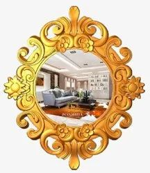 Golden Carving 25mm Wooden Mirror Frame, For Decorative Purpose, Size: 800x600mm