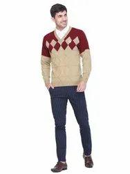 V Neck Full Sleeves INDLON Beige Color Jacquard Mens Sweater