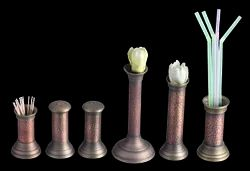 Smokey Finished Copper Toothpick, Straw, Cruet & Bud Vase