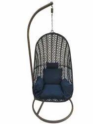 Hanging Swing, Single Seater, Anda Full Swing Grey Line Cum White,dark Blue Cushion