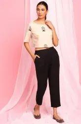 Janasya Women's Cream Cotton Flex Top With Pant(J0350)