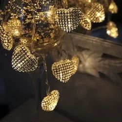 Cheaperzone Yellow Metal Heart LED Light (16 Lamps), For Home