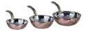 Copper Steel Wok Style Portion Dishes W Brass Handle