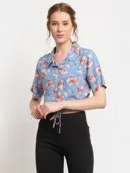 SNS Half Sleeve Women Short Regular Fit Floral Print Casual Shirt