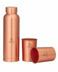 Polished Copper Meena Print Bottle With 2 Glass, Round