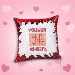 iKraft Sequin Magic Cushion Printed Design You Won My Heart