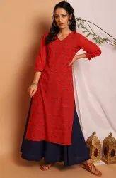 Janasya Women'S Red Poly Crepe Kurta(JNE3740)