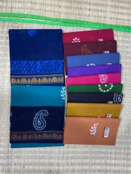 SARATHI Wax print Zari Border Sungudi Cotton Saree, Without Blouse, 5.5 m