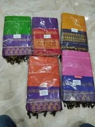 Party Wear South Gadwal Saree, 6 M (with Blouse Piece)