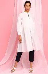 Janasya Women's White Cotton Tunic(JNE3708)