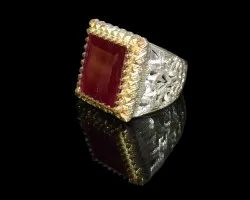 Solid Silver Natural Ruby Turkish Ring For Men Wedding Ring For Men