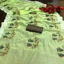 KCS Zari Border Chanderi Patta Saree, Machine wash, 6 m (with blouse piece)