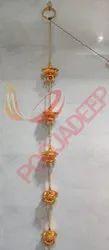 Golden Plastic 5 Step Hanging Diya Toran Light, For Decoration, Size: 12 Inch High