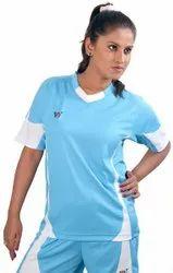 Sky Blue Ladies Sports Wear Nk Jersey Shorts Set
