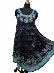 Ladies Rayon Embroidered Print Dress