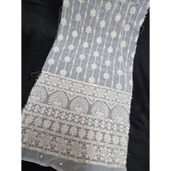 Fancy Dyeable Georgette On Big Panna Work, White