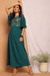 Janasya Women'S Teal Green Poly Crepe Kurta(JNE3714)