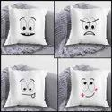 iKraft Cushion Cover (Without Filler) Design - Expressions - Set of 4