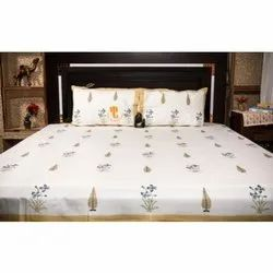 King Size Handblock Print Premium Percale 100% Cotton Fabric Bedsheets With 2 Pillow Cases