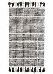 BEIGE/BROWN DOTTED STRIPES Cotton Durries, Size: 27x45 Inches